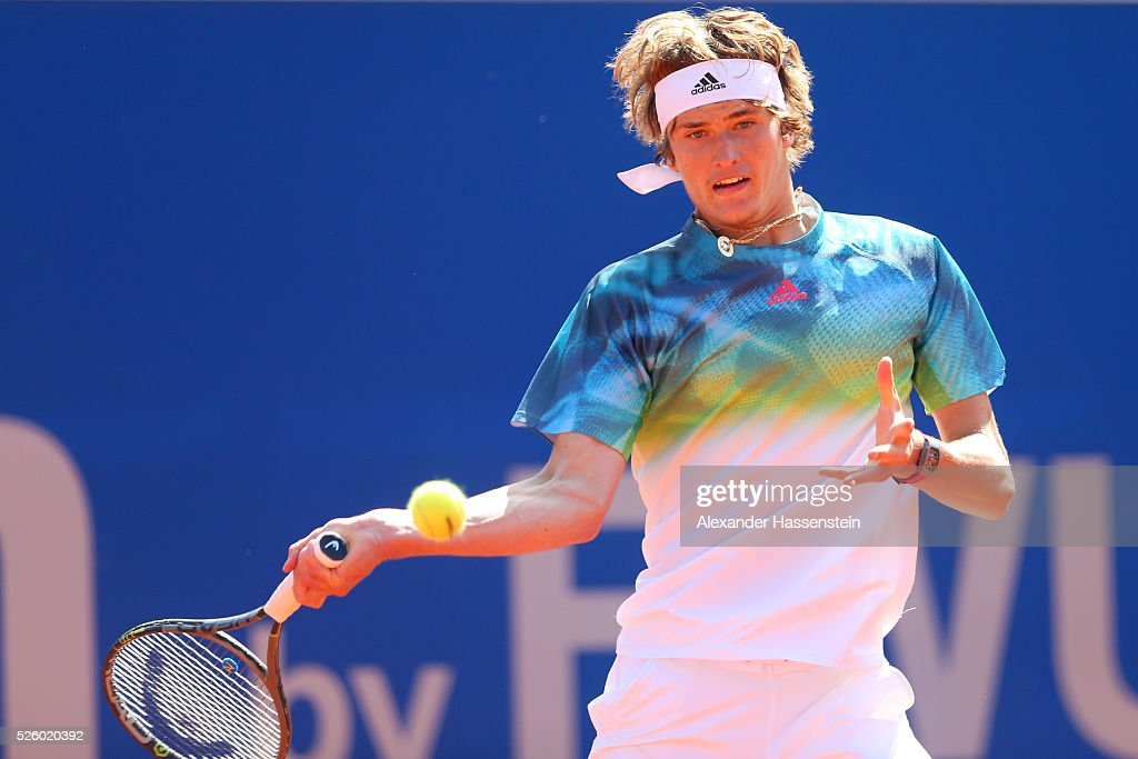 Alexander Zverev of Germany plays a fore hand during his quater final match against David Goffin of Belgium of the BMW Open at Iphitos tennis club on April 29, 2016 in Munich, Germany.