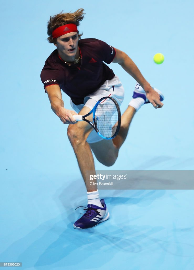Alexander Zverev of Germany plays a forehand against Marin Cilic of Croatia during the Nitto ATP World Tour Finals at O2 Arena on November 12, 2017 in London, England.