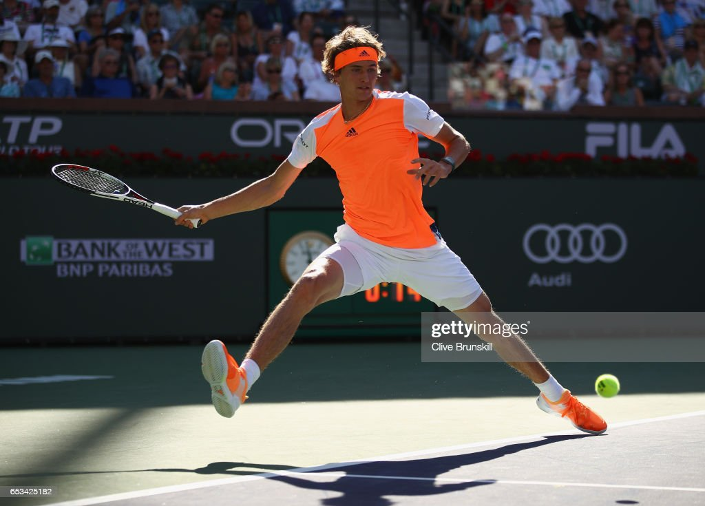 Alexander Zverev of Germany plays a forehand against Nick Kyrgios of Australia in their third round match during day nine of the BNP Paribas Open at Indian Wells Tennis Garden on March 14, 2017 in Indian Wells, California.