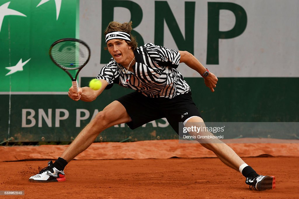 <a gi-track='captionPersonalityLinkClicked' href=/galleries/search?phrase=Alexander+Zverev+-+Tennisser&family=editorial&specificpeople=11367343 ng-click='$event.stopPropagation()'>Alexander Zverev</a> of Germany plays a forehand during the Men's Singles first round match against Pierre-Hughes Herbert of France on day three of the 2016 French Open at Roland Garros on May 24, 2016 in Paris, France.