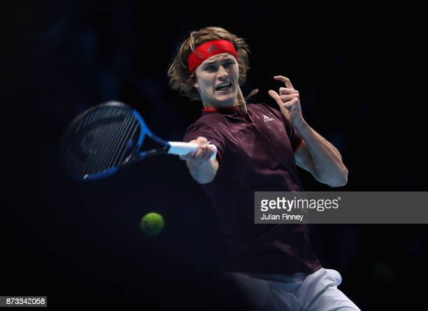 Alexander Zverev of Germany plays a forehand in his match against Marin Cilic of Croatia during day one of the Nitto ATP World Tour Finals tennis at...