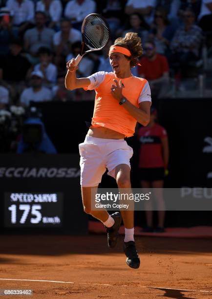 Alexander Zverev of Germany plays a shot against Novak Djokovic of Serbia during the final of The Internazionali BNL d'Italia 2017 at Foro Italico on...