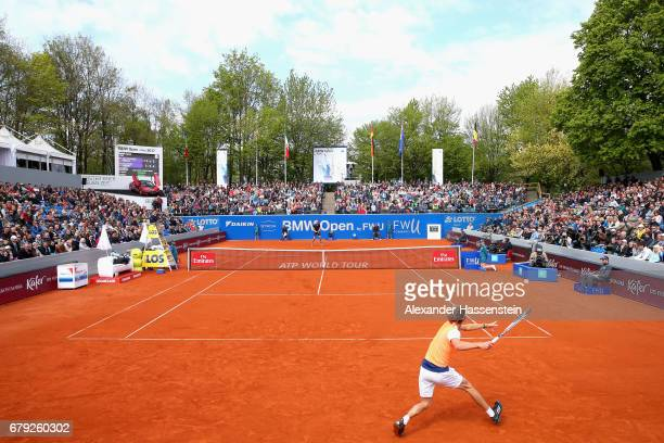 Alexander Zverev of Germany plays the ball during his quater finale match against JanLennard Struff of Germany during their quarter finale match of...