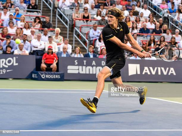 Alexander Zverev of Germany prepares to hit a return against Nick Kyrgios of Australia during day seven of the Rogers Cup presented by National Bank...