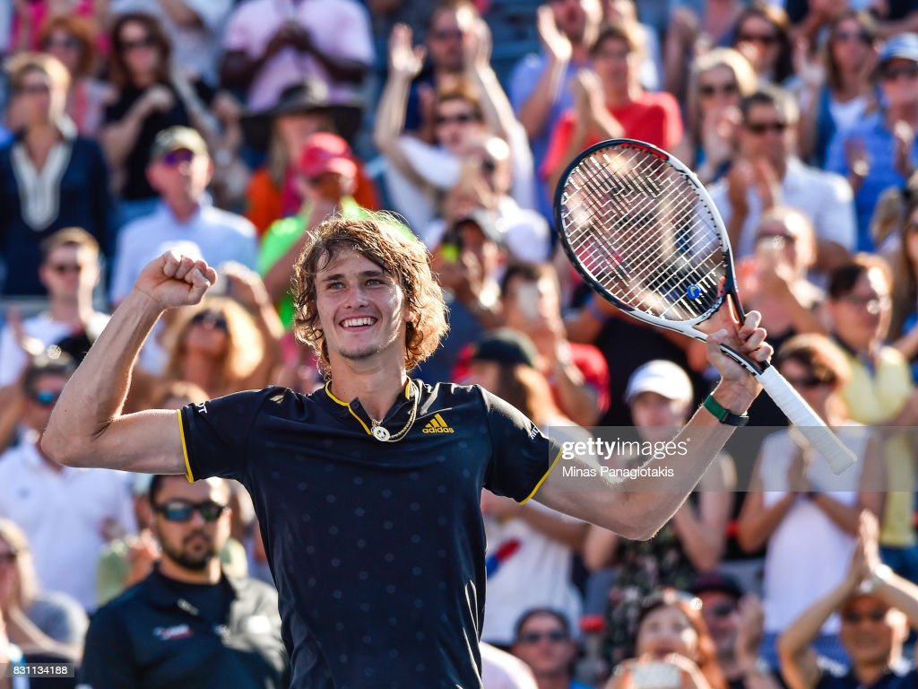 Alexander Zverev of Germany reacts after defeating Roger Federer of Switzerland 6-3, 6-4 in the final during day ten of the Rogers Cup presented by National Bank at Uniprix Stadium on August 13, 2017 in Montreal, Quebec, Canada.