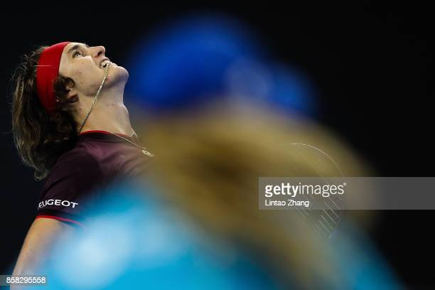 Alexander Zverev of Germany reacts after losing the point during the Men's singles Quarterfinals match against Andrey Rublev of Russia on day seven...