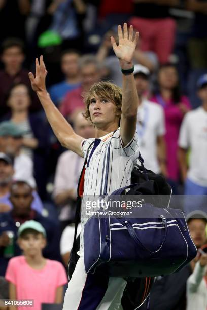 Alexander Zverev of Germany reacts after playing Borna Coric of Croatia in their second round Men's Singles match on Day Three of the 2017 US Open at...