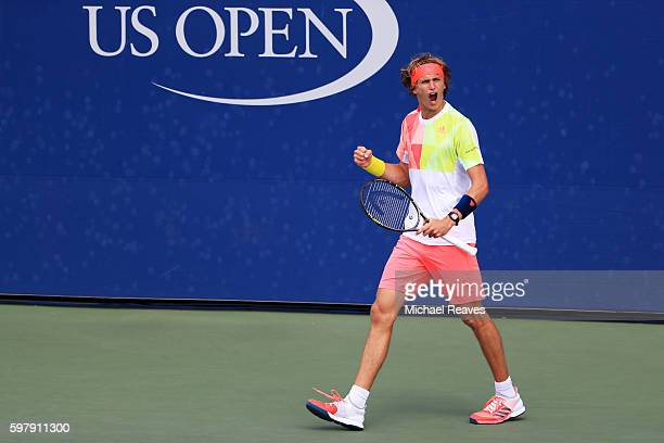 Alexander Zverev of Germany reacts against Daniel Brands of Germany during his first round Men's Singles match on Day Two of the 2016 US Open at the...