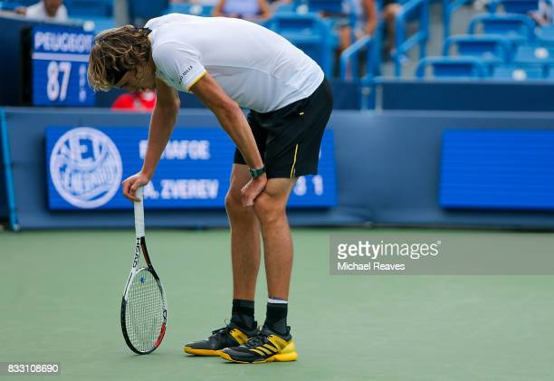 Alexander Zverev of Germany reacts against Frances Tiafoe of the United States during Day 5 of the Western and Southern Open at the Lindner Family...