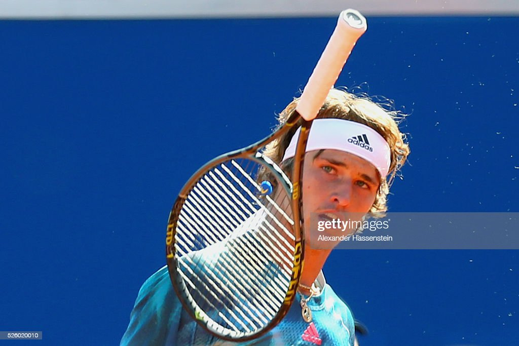 <a gi-track='captionPersonalityLinkClicked' href=/galleries/search?phrase=Alexander+Zverev+-+Tennisser&family=editorial&specificpeople=11367343 ng-click='$event.stopPropagation()'>Alexander Zverev</a> of Germany reacts during his quater final match against David Goffin of Belgium of the BMW Open at Iphitos tennis club on April 29, 2016 in Munich, Germany.