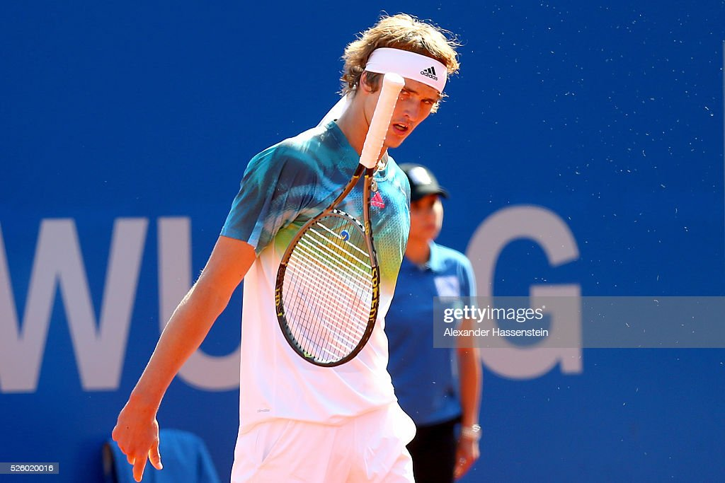 <a gi-track='captionPersonalityLinkClicked' href=/galleries/search?phrase=Alexander+Zverev+-+Tennis+Player&family=editorial&specificpeople=11367343 ng-click='$event.stopPropagation()'>Alexander Zverev</a> of Germany reacts during his quater final match against David Goffin of Belgium of the BMW Open at Iphitos tennis club on April 29, 2016 in Munich, Germany.