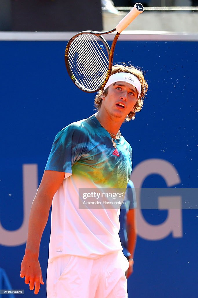 <a gi-track='captionPersonalityLinkClicked' href=/galleries/search?phrase=Alexander+Zverev+-+Tenista&family=editorial&specificpeople=11367343 ng-click='$event.stopPropagation()'>Alexander Zverev</a> of Germany reacts during his quater final match against David Goffin of Belgium of the BMW Open at Iphitos tennis club on April 29, 2016 in Munich, Germany.