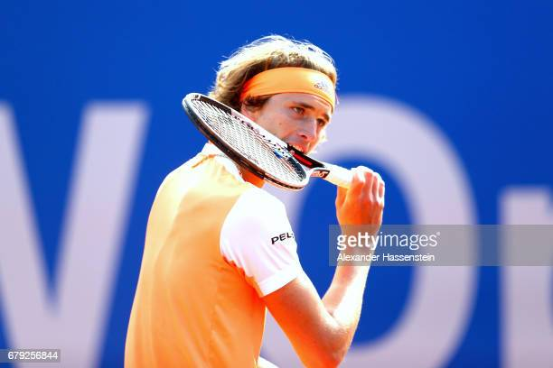 Alexander Zverev of Germany reacts during his quater finale match against JanLennard Struff of Germany during their quarter finale match of the 102...