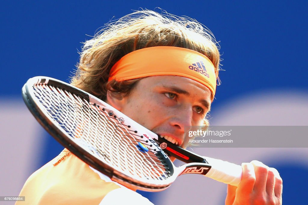 Alexander Zverev of Germany reacts during his quater finale match against Jan-Lennard Struff of Germany during their quarter finale match of the 102. BMW Open by FWU at Iphitos tennis club on May 5, 2017 in Munich, Germany.
