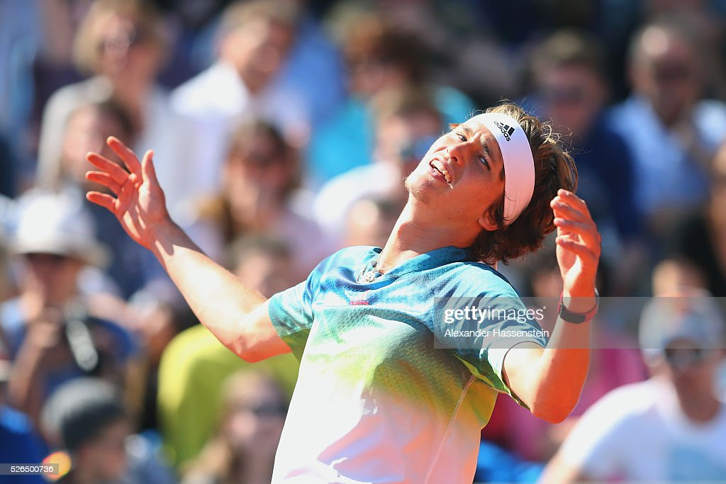 Alexander Zverev of Germany reacts during his semi finale match against Dominic Thiem of Austria of the BMW Open at Iphitos tennis club on April 30...