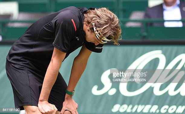 Alexander Zverev of Germany reacts during the ATP tournament tennis final match against Florian Mayer of Germany in Halle western Germany on June 19...