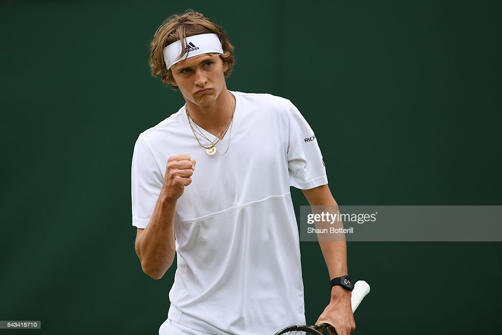 <a gi-track='captionPersonalityLinkClicked' href=/galleries/search?phrase=Alexander+Zverev+-+Tennis+Player&family=editorial&specificpeople=11367343 ng-click='$event.stopPropagation()'>Alexander Zverev</a> of Germany reacts during the Men's Singles first round match against Paul Henri-Mathieu of France on day two of the Wimbledon Lawn Tennis Championships at the All England Lawn Tennis and Croquet Club on June 28, 2016 in London, England.