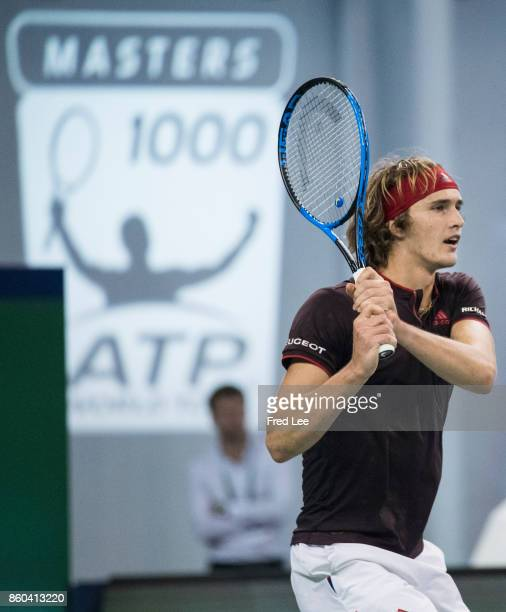 Alexander Zverev of Germany returns a shot against during Men's singles mach third round against Juan Martin Del Potro of Argentina on day five of...