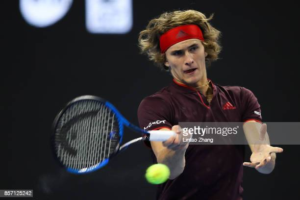 Alexander Zverev of Germany returns a shot against Kyle Edmund of Great Britain during the Men's singles first round on day four of 2017 China Open...