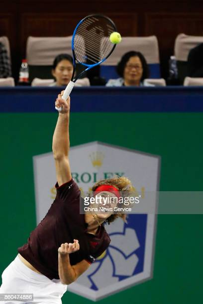 Alexander Zverev of Germany returns a shot during the Men's singles third round mach against Juan Martin Del Potro of Argentina on day five of 2017...
