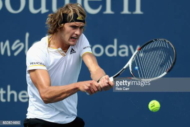 Alexander Zverev of Germany returns a shot to Frances Tiafoe during Day 5 of the Western Southern Open at the Linder Family Tennis Center on August...
