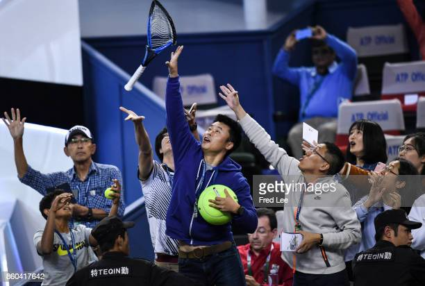 Alexander Zverev of Germany rleaves the court following defat in the Men's singles mach third round against Juan Martin Del Potro of Argentina on day...