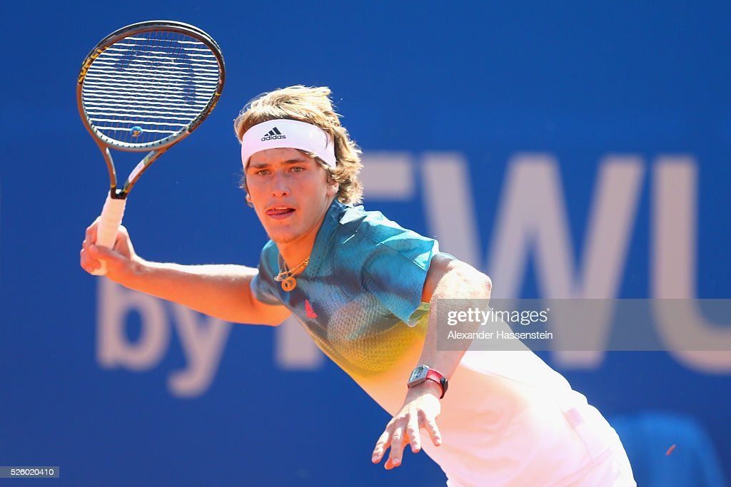 <a gi-track='captionPersonalityLinkClicked' href=/galleries/search?phrase=Alexander+Zverev+-+Tennisser&family=editorial&specificpeople=11367343 ng-click='$event.stopPropagation()'>Alexander Zverev</a> of Germany runs during his quater final match against David Goffin of Belgium of the BMW Open at Iphitos tennis club on April 29, 2016 in Munich, Germany.