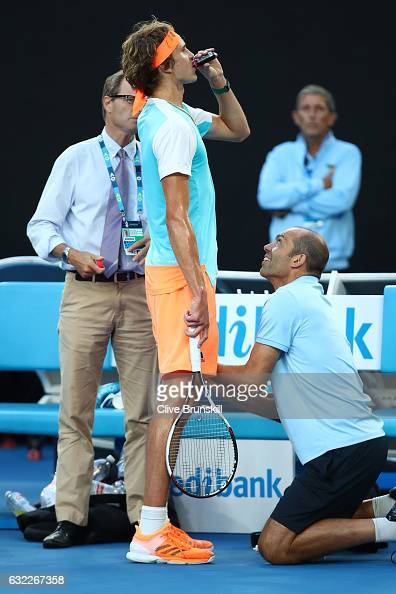 Alexander Zverev of Germany seeks medical treatment in his third round match against Rafael Nadal of Spain on day six of the 2017 Australian Open at...