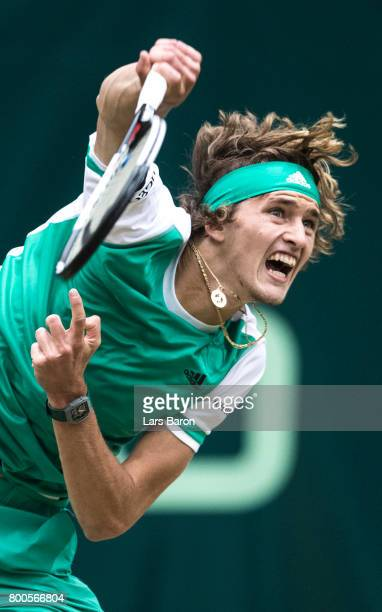 Alexander Zverev of Germany serves during his semifinal match against Richard Gasquet of France during Day 8 of the Gerry Weber Open 2017 at on June...