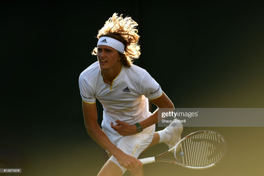 Alexander Zverev of Germany serves during the Gentlemen's Singles fourth round match against Milos Raonic of Canada on day seven of the Wimbledon Lawn Tennis Championships at the All England Lawn Tennis and Croquet Club on July 10, 2017 in London, England.