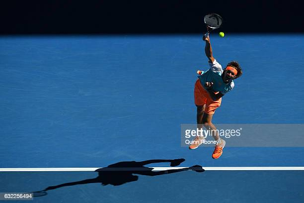 Alexander Zverev of Germany serves in his third round match against Rafael Nadal of Spain on day six of the 2017 Australian Open at Melbourne Park on...