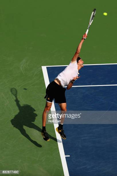 Alexander Zverev of Germany serves to Frances Tiafoe during Day 5 of the Western Southern Open at the Linder Family Tennis Center on August 16 2017...