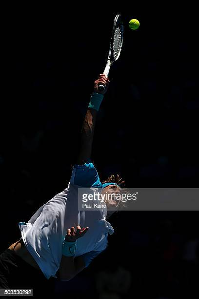Alexander Zverev of Germany serves to Kenny De Schepper of France in the mens singles match during day four of the 2016 Hopman Cup at Perth Arena on...