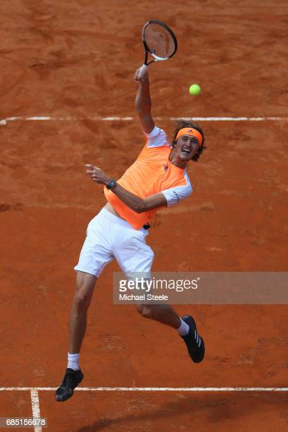 Alexander Zverev of Germany smashes a volley during his quarter final match against Milos Raonic of Canada on Day Six of the Internazionali BNL...
