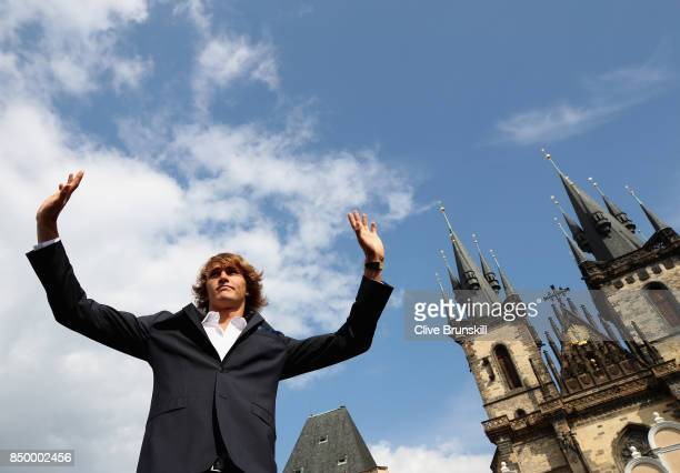 Alexander Zverev of Germany waves to fans ahead of the Laver Cup on September 20 2017 in Prague Czech Republic The Laver Cup consists of six European...