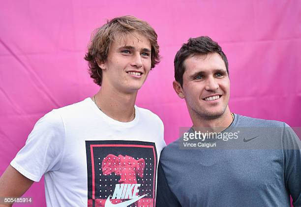 Alexander Zverev of Russia poses with his brother Mischa Zverev during day one of the 2016 Australian Open at Melbourne Park on January 18 2016 in...