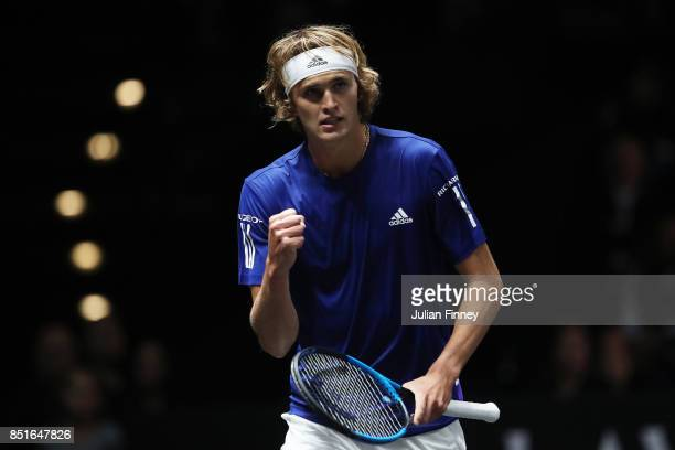 Alexander Zverev of Team Europe celebrates winning a point during his singles match against Denis Shapovalov of Team World on the first day of the...