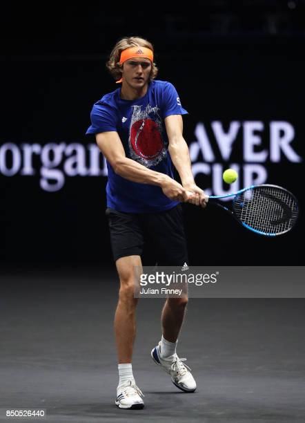 Alexander Zverev of Team Europe hits a backhand during practice ahead of the Laver Cup on September 21 2017 in Prague Czech Republic The Laver Cup...