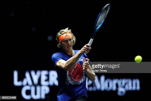 Alexander Zverev of Team Europe hits a forehand during practice ahead of the Laver Cup on September 21 2017 in Prague Czech Republic The Laver Cup...