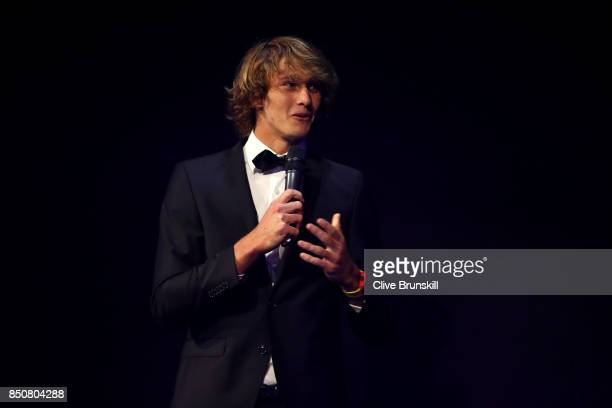 Alexander Zverev of Team Europe on stage at the Laver Cup Gala dinner ahead of the Laver Cup on September 21 2017 in Prague Czech Republic The Laver...