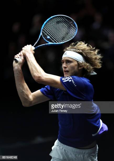 Alexander Zverev of Team Europe plays a backhand during his singles match against Denis Shapovalov of Team World on the first day of the Laver Cup on...