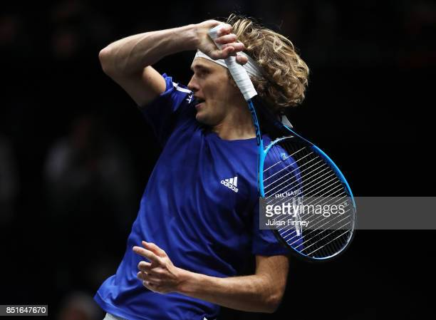 Alexander Zverev of Team Europe plays a forehand during his singles match against Denis Shapovalov of Team World on the first day of the Laver Cup on...