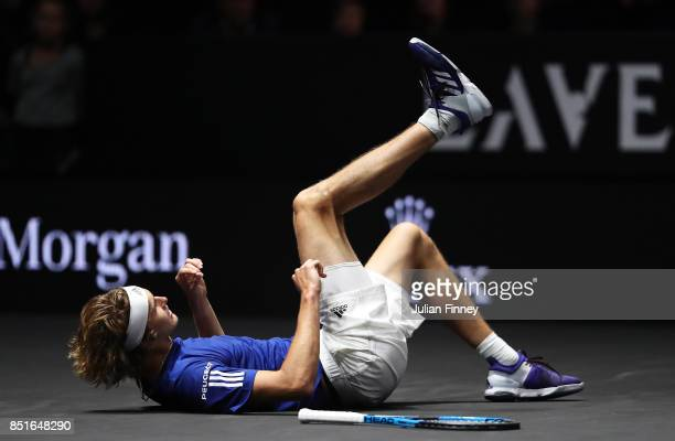 Alexander Zverev of Team Europe plays falls during his singles match against Denis Shapovalov of Team World on the first day of the Laver Cup on...