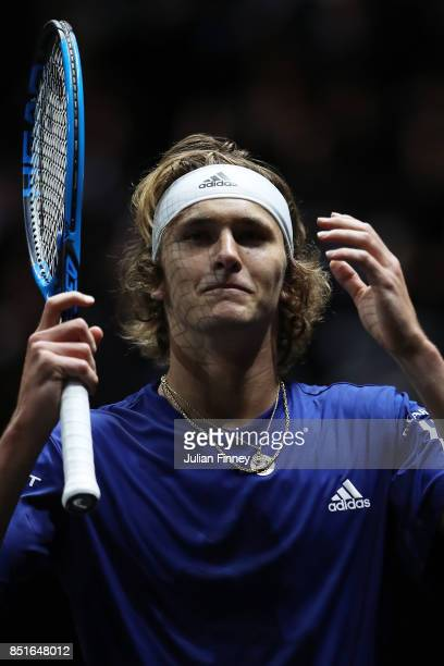 Alexander Zverev of Team Europe reacts during his singles match against Denis Shapovalov of Team World on the first day of the Laver Cup on September...