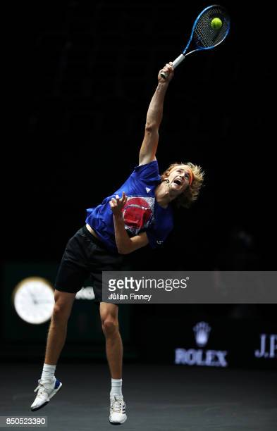 Alexander Zverev of Team Europe serves during practice ahead of the Laver Cup on September 21 2017 in Prague Czech Republic The Laver Cup consists of...