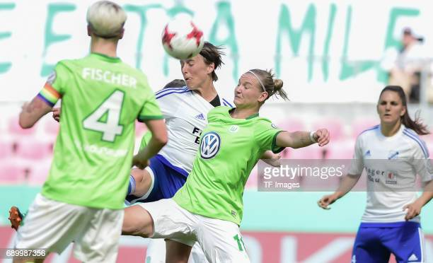 Alexandera Popp of Wolfsburg and Anne Van Bonn of SC Sand battle for the ball during the Women's DFB Cup Final 2017 match between SC Sand and VFL...