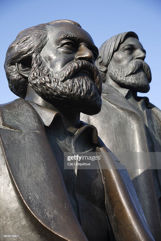Alexanderplatz Detail of statue of Karl Marx and Friedrich Engels
