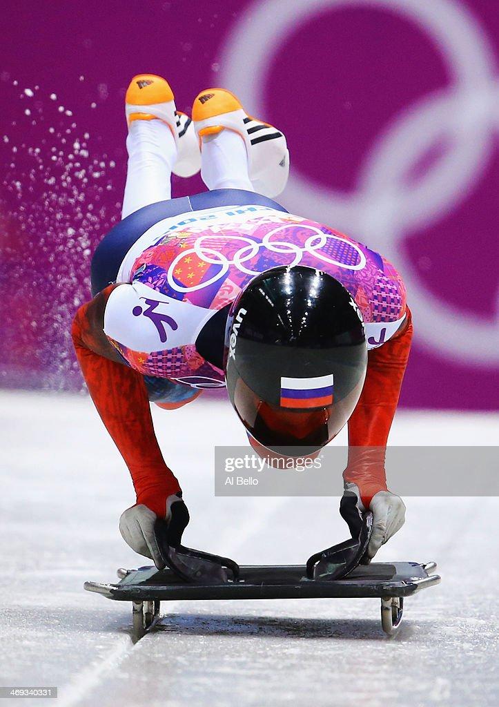 Alexander@Tretiakov of Russia starts a run during the Men's Skeleton heats on Day 7 of the Sochi 2014 Winter Olympics at Sliding Center Sanki on February 14, 2014 in Sochi, Russia.