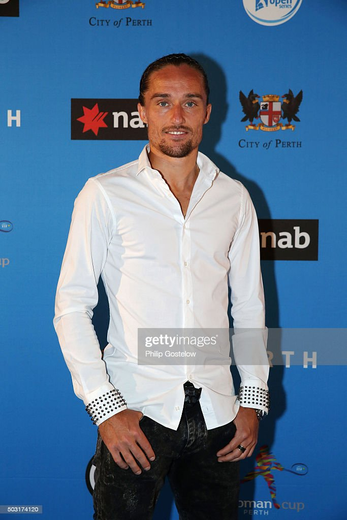 Alexandr Dolgopolov (who together with Elina Svitolina is representing Ukraine) arrive at the 2016 Hopman Cup Player Party at Perth Crown on January 2, 2016 in Perth, Australia.