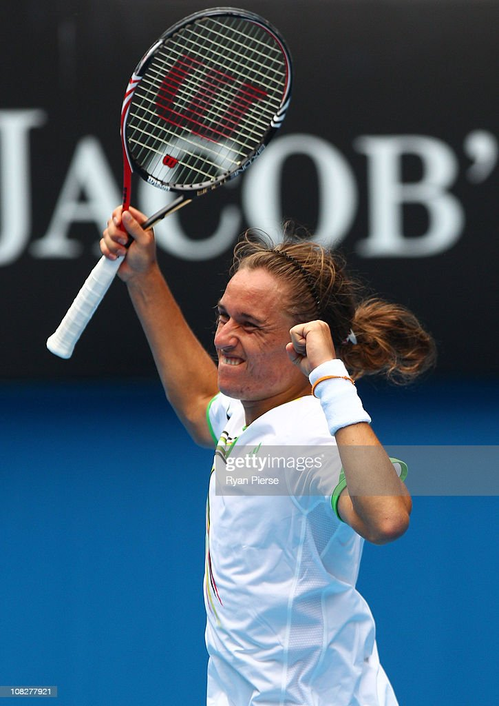 Alexandr Dolgopolov of the Ukraine celebrates match point in his fourth round match against Robin Soderling of Sweden during day eight of the 2011...